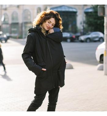Демисезонная куртка для беременных и слингоношения Love&Carry 4в1 Черная