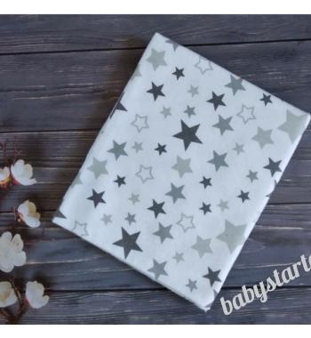 Фланелевая теплая пеленка Серые звезды