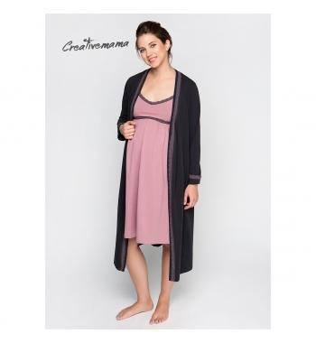 Ночная рубашка+халат для беременных и кормящих Creativemama Dolce